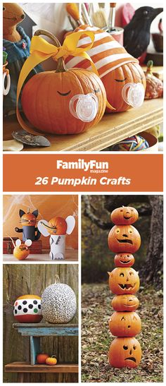 Pumpkin Decorating Crafts Craft one of our frightfully creative jack-o'-lanterns!Craft one of our frightfully creative jack-o'-lanterns! Fröhliches Halloween, Holidays Halloween, Halloween Treats, Halloween Pumpkins, Halloween Decorations, Food Decorations, Decoration Crafts, Christmas Holidays, Holiday Crafts