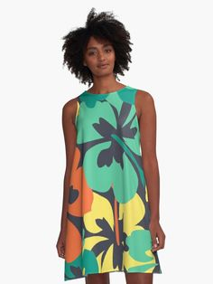 """""""Flower Print, Flower Pattern"""" A-Line Dress by MsD7 