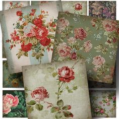 Aged Floral Patterns 1 Digital Collage by CharmedMemoryCollage, $3,50