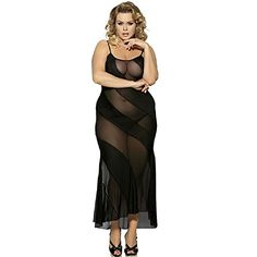 022888e2fae JapanTrendStore Womens Sexy See Through Maxi Lingerie Nightgown Plus size  5XL US 4XL -- Be sure to check out this awesome product.