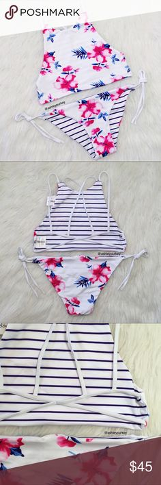 pink and white floral high neck strappy bikini set pink and white floral high neck reversible strappy bikini bikini   •size: large   •features: top: high neck with an open strappy back with NO adjustable straps. no padding. bottoms: have adjustable side ties.   •no trades  ❗️❗️ NOT from l*space (brand listed for visibility. real brand: Ashley's Boutique)  ⚠️ if this item does not fit you CANNOT return it - poshmark policy l*space Swim Bikinis