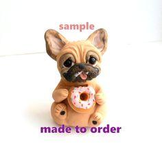 Dona se preocupe sea feliz Bulldog Francés Escultura de Raquel en theWRC mano esculpida arcilla polimérica perro coleccionables