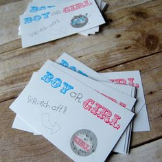 How cool would these be for a gender reveal party or a baby shower?? Set of 20 Gender Reveal Scratch Off. $15.00, via Etsy.