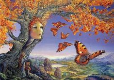All Jo's paintings are available as limited edition prints. Butterfly Tree, Butterfly Photos, Butterfly Wallpaper, Butterfly Illustration, Illustration Art, Art Illustrations, Frank Duval, Oil Painting Trees, Josephine Wall
