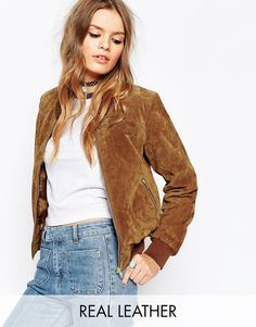Image 1 of ASOS Suede Bomber With Contrast Rib