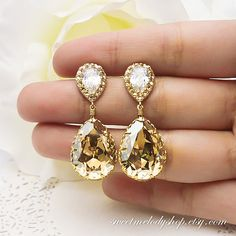 Bridesmaid Gift Wedding Jewelry Bridal Earrings Champagne Earrings Golden Shadow Swarovski Crystal Tear Drop Earrings with Cubic Zirconia