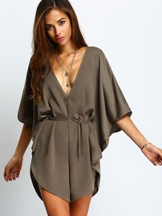 Army Green V Neck Batwing Sleeve Tie-Waist Playsuit