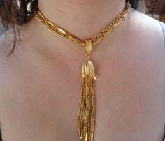 VTG 14k Gold GP Fringe Tassel Necklace DESIGNER Choker 1970s Costume Jewelry #Monet #ChokerVTGDesignerRunwayTasselJEWELRY