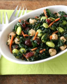 If you are addicted to the Trader Joe's Bistro Salad, this recipe is going to be in constant rotation at your house. Kale, edamame, garbanzos, and cranberries combine for a perfectly balanced salad that is better — and cheaper — than the original.