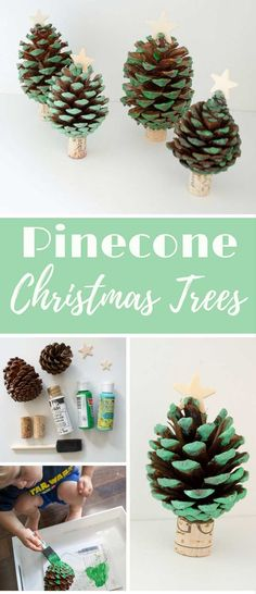 This pinecone Christmas tree craft was a fun project to do with my kids. Using acrylic paint, a star & wine cork, we have an adorable start to our holiday.   via @foodfunkids