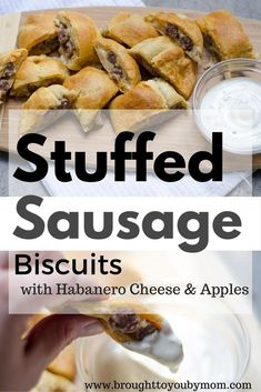 Enjoy Friendsgiving with this great breakfast recipe with Johnsonville's NEW Natural Sausage. Stuffed Sausage Biscuits, complete with a kick of habanero cheese and sweet aftertaste of apple and sage. A great way to use the leftover apples and roll dough f Sausage Biscuits, Sausage Dip, Best Breakfast, Breakfast Recipes, Breakfast Ideas, Easy Biscuit Recipe, Apples And Cheese, Morning Food, Kid Friendly Meals