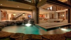 Indoor waterfall and pool