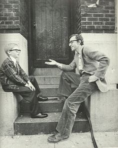 Woody Allen talks to his child self on the set of 'Annie Hall'