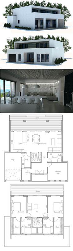 Modular Home Plan, Shipping container house plan, Prefab house design. Modern Minimalist House, Minimalist Architecture, Architecture Plan, House Front Design, Small House Design, Modern House Design, Contemporary House Plans, Modern House Plans, Dream House Exterior