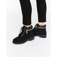 Park Lane Chunky Lace Up Flat Boots (350 MAD) ❤ liked on Polyvore featuring shoes, boots, black, black lace shoes, lace front boots, flat boots, chunky-heel boots and black flat shoes