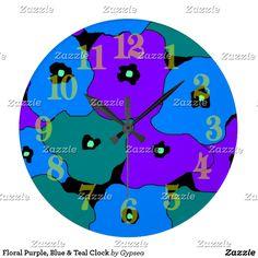 Floral Purple, Blue & Teal Clock