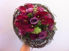 bruidsboeket - donkerrood-paars met lichtgroene accenten falenopsis boechout
