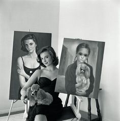Natalie Wood with portraits by Margaret Keane