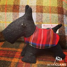Meet Scotty, looking very dapper in his tartan jacket. He's made here at ScotClans from Scottish tweed, we can make the jacket in any tartan. Scotty stands at around 22cm floor to ear. He'd make a great wee friend for someone.