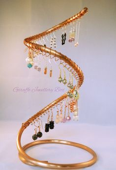 Handmade Copper Spiral Earring  Display Stand Cascade holds 60 earrings great for home, Jewellery craft stall, sales - pinned by pin4etsy.com