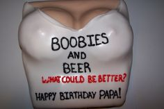 Papa Schmuck's boobie and beer birthday cake. After the fondant sets, brush of any dust from rolling and rub on a little crisco.