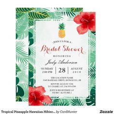 Tropical Pineapple Hawaiian Hibiscus Bridal Shower Card #tropical #pineapple #hawaiian #hibiscus #bridal #shower #card#summerwedding #hawaiianwedding