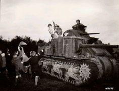 Santa on a Sherman tank during ww2