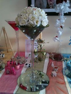 large martini glass with white/cream roses