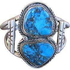 Stunning! Sterling Silver Bracelet with Morenci Turquoise by Navajo artisan Roger Skeet Jr. Signed & Hallmarked found at www.rubylane.com @rubylanecom