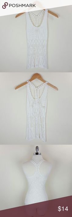 Crochet summer top Great summer top with crochet design and racer back  See through  95% cotton 5% spandex Tops Blouses
