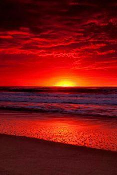 Ocean and Sunset nature sunrise sunset. Red Sunset, Sunset Beach, Beach Sunsets, Sunset Pics, Red Beach, Desert Sunset, Sunset Art, Sunset Pictures, Ocean Beach