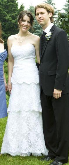 lacy tiered wedding dress