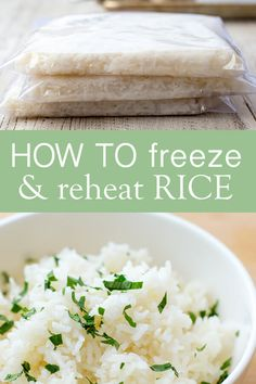 How to Freeze and Reheat Rice! Frozen rice is so convenient for weeknight meals, but there's no need to buy it at the grocery store! It's easy to do yourself at home. Here are instructions for freezing, reheating, and using homemade rice. Healthy Meals To Freeze, Make Ahead Meals, No Cook Meals, Easy Meals, Budget Freezer Meals, Freezer Cooking, Freezer Recipes, Freezable Recipes, Budget Recipes