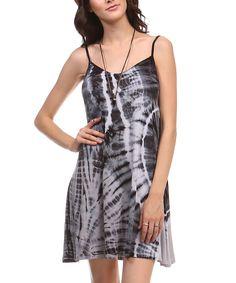 This Urban X Black & White Tie-Dye Spaghetti Strap Dress by Urban X is perfect! #zulilyfinds