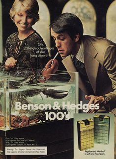 Items similar to 1975 Benson & Hedges Cigarette Advertisement Print Lobster Tank Photo Retro Tobaco Advertising Funny Ad Wall Art on Etsy Vintage Advertisements, Vintage Ads, Benson & Hedges, Vintage Cigarette Ads, Print Advertising, Weird, The Past, Childhood, Smoke