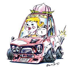 "car illustration ""crazy car art"" jdm japanese old school ""510"" original cartoon ""mame mame rock"" / © ozizo"