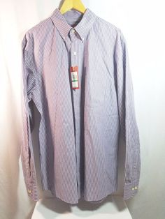 Izod Size LT Big & Tall Long Slv. Essential Woven Striped Button Down Shirt NWT  #IZOD #ButtonFront