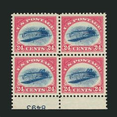 Inverted Jenny plate block sets US stamp record Stamp Auctions, Rare Stamps, World Records, Stamp Collecting, Postage Stamps, Plates, Prints, Corner, Star