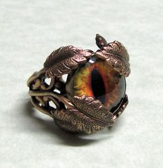 Deep in the Jungle Ring. I wonder who made the glass eye peeking out fro the leaves? MonaRaeBeads.etsy.com