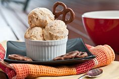 Peanut butter pretzel ice cream with chocolate covered pretzels