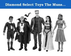 Diamond Select Toys The Munsters: Family Black and White Figure Set. You've collected them in color, now we've collected them in black-and-white! This deluxe collectors' box set presents the entire Munsters clan -- Herman, Lily, Grandpa, Marilyn and Eddie -- as they looked in their original black and-white TV appearances on The Munsters! These exclusive 18 cm scale figures will only be available as part of this set, and come with floorboard bases in a display-quality window box.