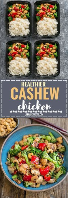 Healthy Meal Prep Cashew Chicken - an easy 20 minute guilt-free gluten free skinny version (plus paleo friendly options) of the popular classic Chinese takeout dish. Plus a serving of tender crisp broccoli and red bell peppers for a healthier meal. Best of all, this recipe comes together in less than 25 minutes in just one pan! Perfect for busy weeknights! Plus a step-by-step how to video! Weekly meal prep for the week and leftovers are great for lunch bowls for work or school.
