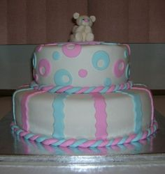 Boy or Girl Baby Shower Cake Idea for Double Baby Shower