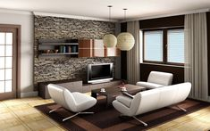 Awesome White Brown Wood Glass Modern Design Living Room Ideas Interior Tv Under Storage Wall Cabinet Pendant Lamp White Sofa Carpet Wood Floor Windows Curtain Table At Livingroom As Well As Living Room Interior Design Plus Contemporary Interior Design Ideas of Beautiful Modern Living Room Interior Design Ideas from Furniture Ideas