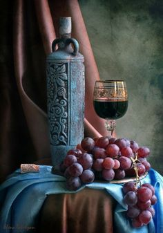 Wine and grapes by Elena Tatulyan Still Life Drawing, Still Life Art, Art Et Nature, Fruit Painting, Still Life Photos, In Vino Veritas, Vanitas, Still Life Photography, Painting Inspiration