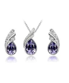 Austria Crystal Water Drop Leaves Jewelry Set - Earring and Necklace