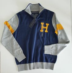 Tommy Hilfiger Men`s Half Zip Sweater XX-LARGE Navy/Gray NWT #TommyHilfiger #12Zip