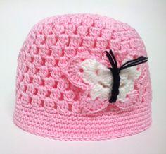 Gorrito rosa con adorno de mariposa, Niños y bebé, Ropa, Crochet, Ropa, Crochet, Gorras y gorros, Punto, Bebé