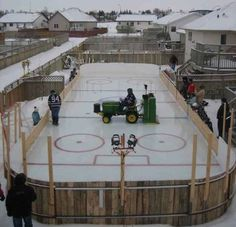 John Deere garden tractor with a Zamboni 100 on an outdoor Backyard hockey rink Backyard Hockey Rink, Backyard Ice Rink, Outdoor Rink, Ice Hockey Rink, Hockey Mom, Hockey Stuff, Hockey Rules, Hockey Gear, Backyard Sports