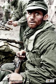 Gebirgsjäger  Eastern front - Late1942 - This mountain soldier looks like he's been doing some fighting. The Russians in late 1942 were about to turn the tables on the Germans and push them in just over 2 years back into Berlin.